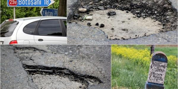 Drum judeţean asfaltat cu promisiuni. Are doar 7 kilometri dar este într-o stare jalnică GALERIE FOTO