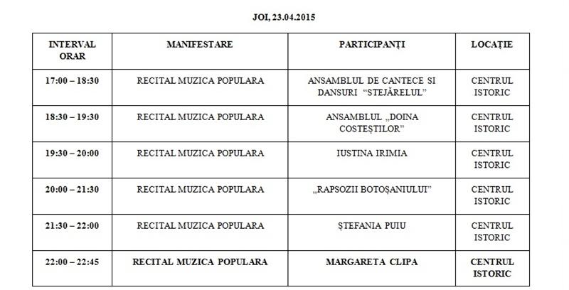 zilele municipiului program